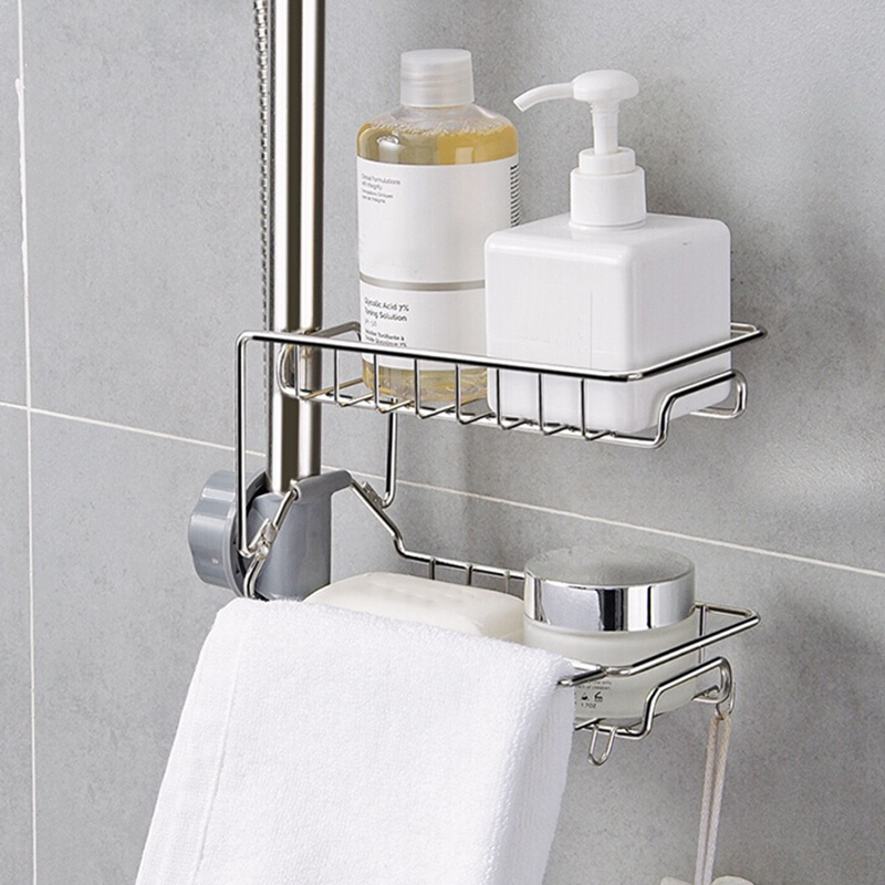 ucet Sponge Holder Sink Organizer Drainer Faucet Hanging Storage Rack for Bathroom Kitchen Wall mounted kitchen rack LB88