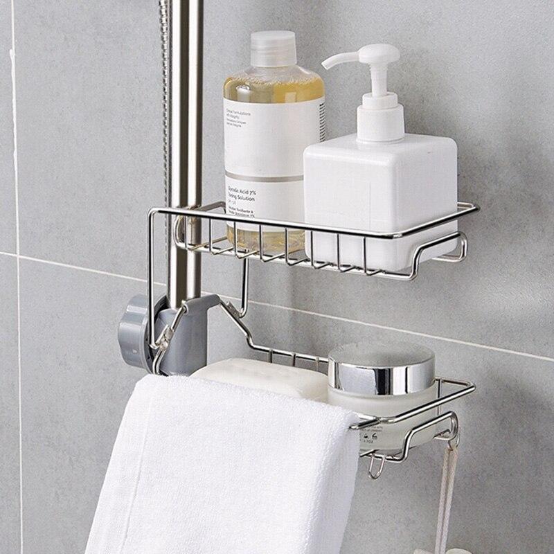 Ucet Sponge Holder Sink Organizer Drainer Faucet Hanging Storage Rack For Bathroom Kitchen Wall Mounted Kitchen Rack LB88