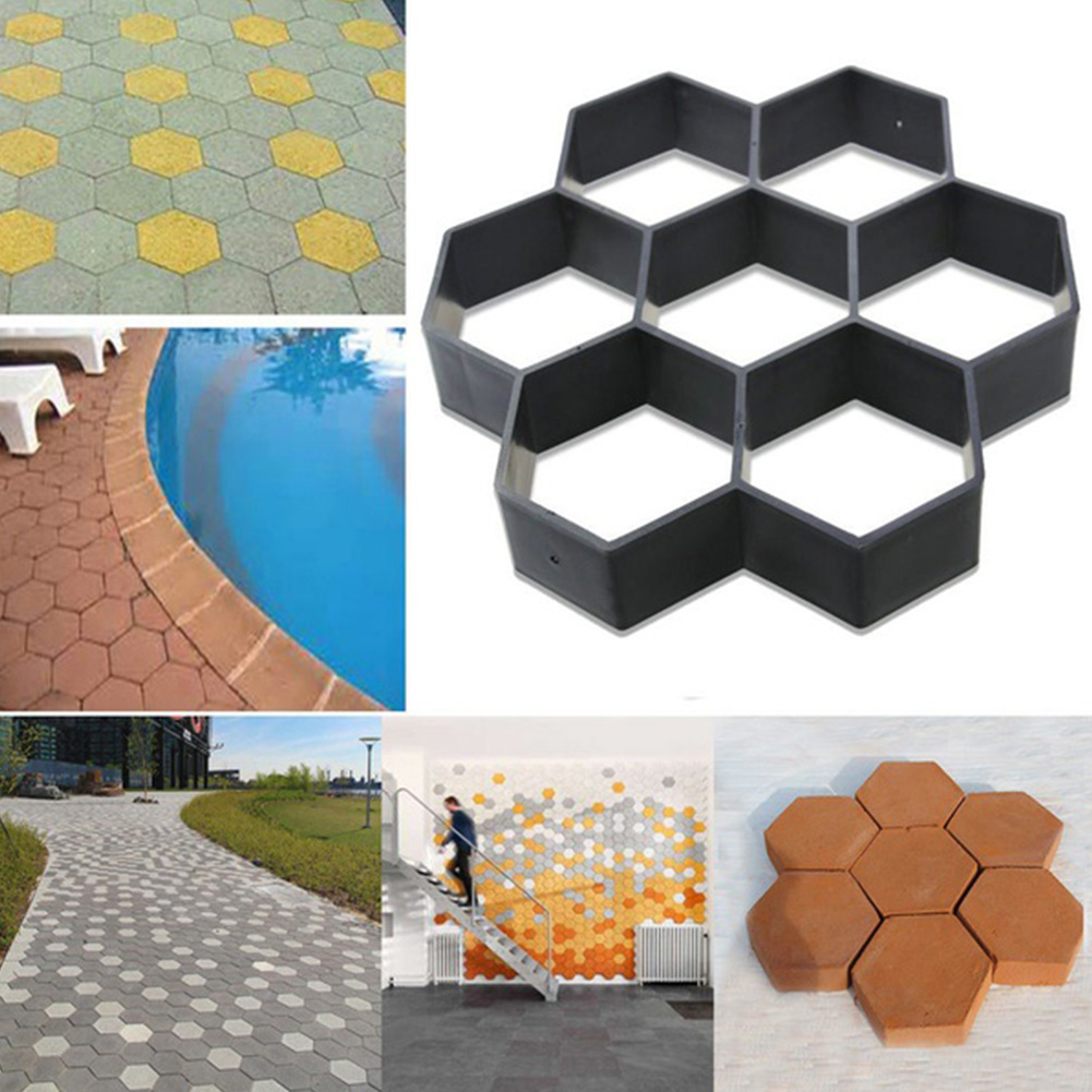 Reusable Stone Paver Hexagon Road Concrete Cement DIY Floor Garden Path Maker Mold
