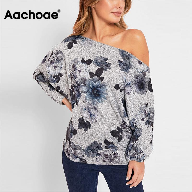 Ladies Tops And Blouses 2020 Off Shoulder Long Sleeve Shirt Fashion Printed Tunic Casual Loose Tops Plus Size Chemise Femme