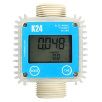 Fuel Flow Meter K24 1 inch Turbine Digital Diesel Gauge Counter for Chemicals Water
