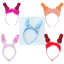 купить Henparty single Party props button send adversary Penis feather hair hoop head party Headwear Headband Single party supplies дешево