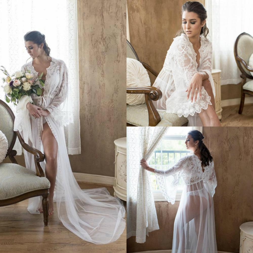 Sexy See Through Nightgown Robes Long Sleeves Summer Lace Women's Ladies Bride Robe Bath Robe Custom Made
