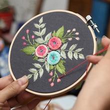 3 style DIY haftowany kwiat Handwork robótki dla początkujących krzyż zestaw do szycia wstążka malowanie haft Hoop Home Decoration