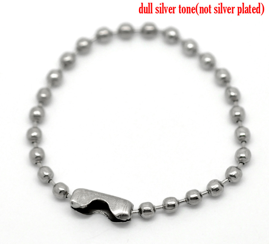 Doreen Box Lovely 100PCs Silver Tone DIY Connector Clasp Ball Chains Keychain Tag 10cm(3 7/8