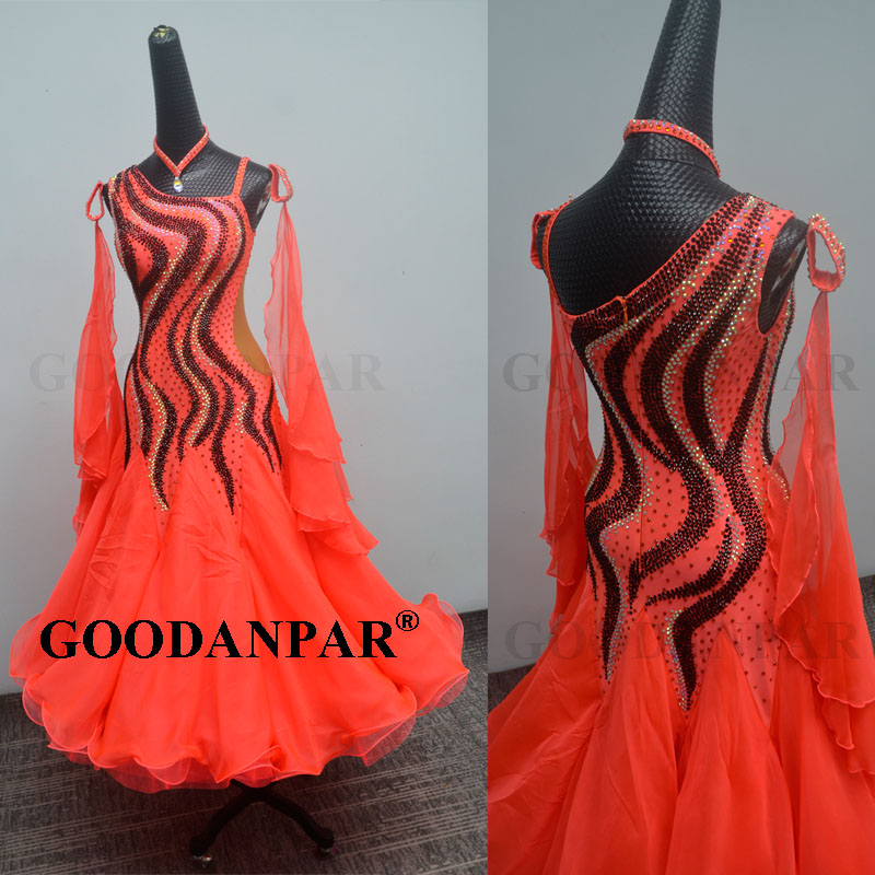GOODANPAR New Standard Ballroom Dance Dress Women Girls Competition Costume Sleeveless Lycra Waltz Stage Dance Wear Clothes