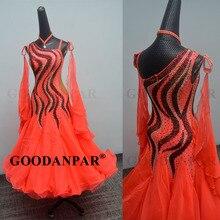 GOODANPAR New Standard Ballroom Dance Dress Women Girls Competition Costume Slee