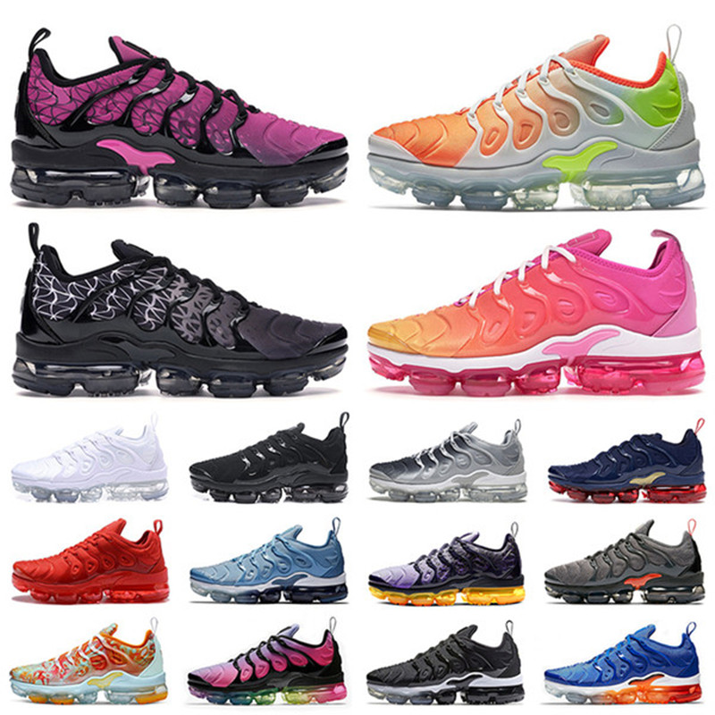 2019 TN Plus Racer  University  Women Mens Running Sports Designer Shoes  Air Cusion Active Rainbow Men Sneakers Trainer