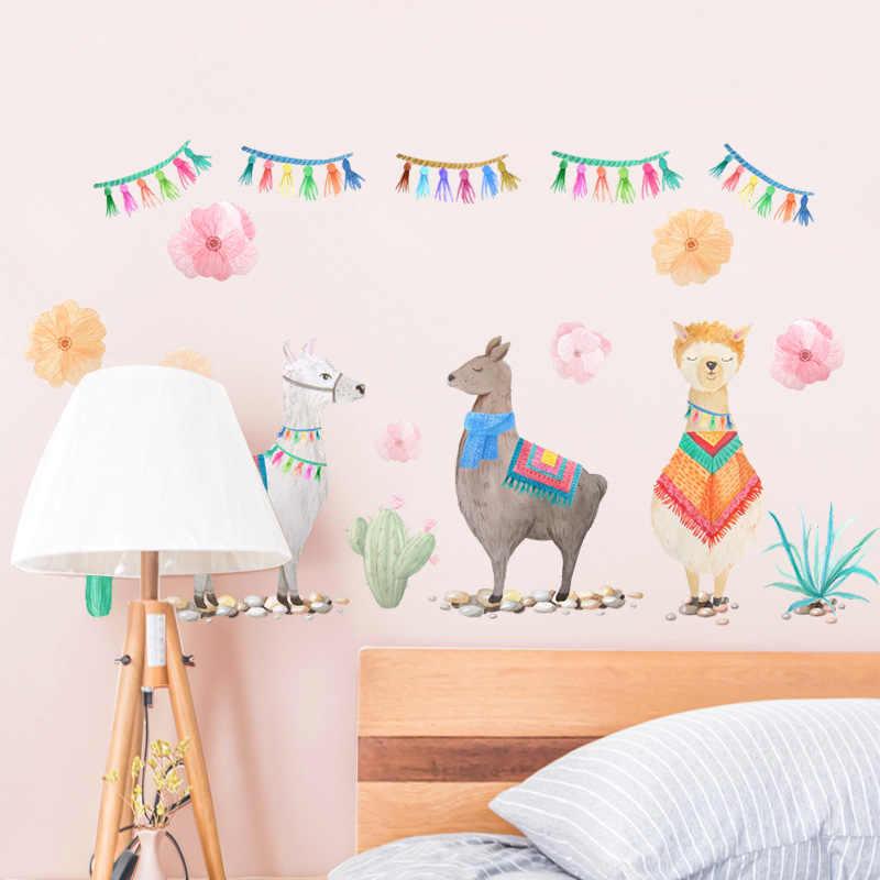 Cute Cartoon Animal Alpaca Llama Wall Sticker Wall Decal Baby Kids Nursery Room