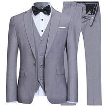 Gary Мужской приталенный костюм из 3 предметов на одной пуговице Блейзер жилет под смокинг и брюки