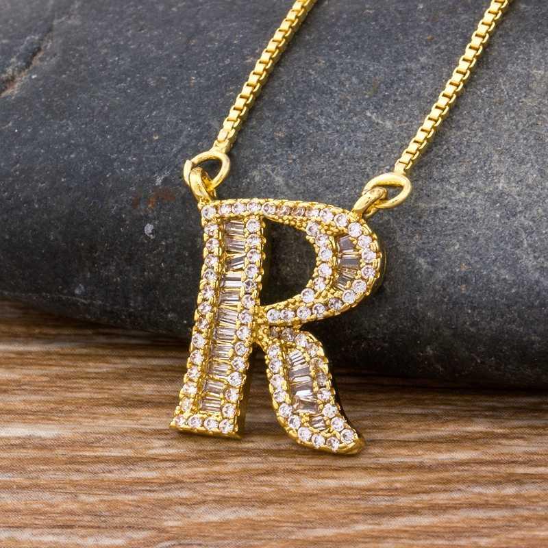 Cao Cấp Màu Vàng A-Z 26 Chữ Cái Vòng Cổ CZ Mặt Dây Chuyền Nữ Dễ Thương Tên Viết Tắt Tên Vòng Cổ Thời Trang DỰ TIỆC CƯỚI Món Quà Trang Sức