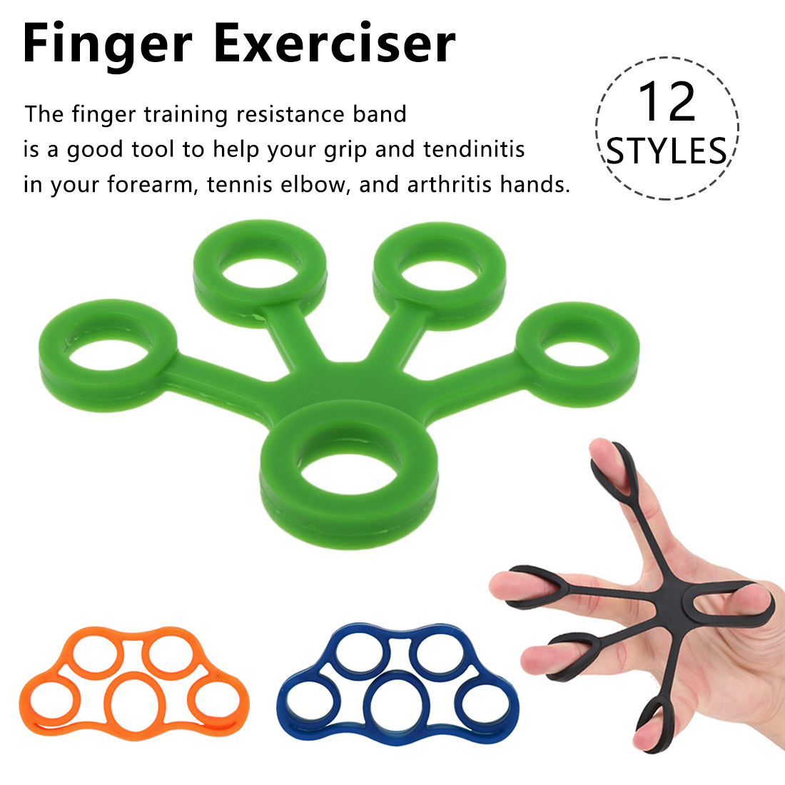 Silicone Finger Puller Finger Pull Ring Rehabilitation Exercise Five-finger Training Rally Ring Trainer Resistance Band Fitness