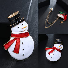 Women Christmas Snowman Fashion Pins Christmas Jewelry Gifts Brooch Alloy Material Brooch Holiday Accessories Party Gifts(China)