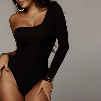 Black One Shoulder Basic Bodysuit Rib Knit Elegant women new fashion Sexy Autumn Bodysuits Fashion Long Sleeve Skinny Bodysuits one shoulder buttoned split sleeve bodysuit
