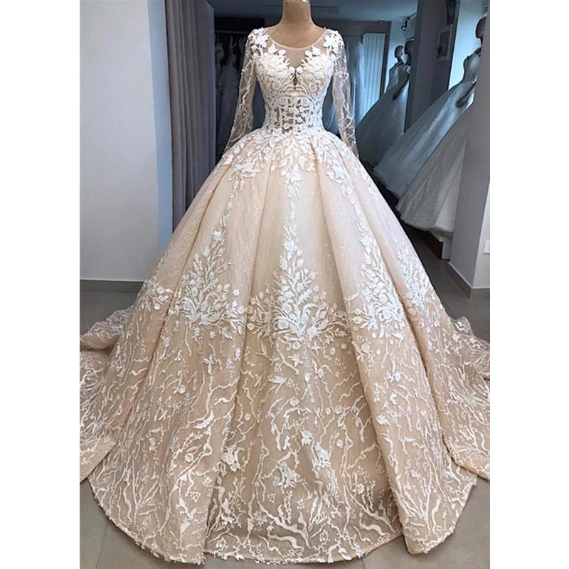 Bride Dresses Champagne Lace A Line Wedding Dresses Sheer Long Sleeves Plus Size Bridal Gowns Court Train Vestido De Noiva