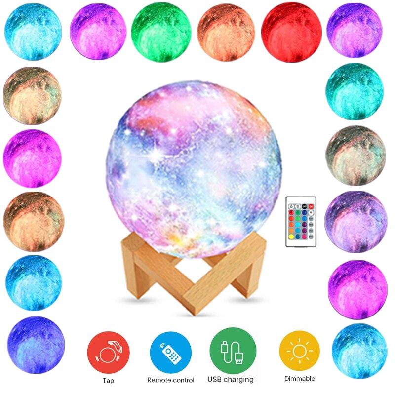 3d estrela lua luz da noite пульта дистанционного управления токе usb recarregvel 16 ядер led com suporte de Мадера para meninas meninos пре