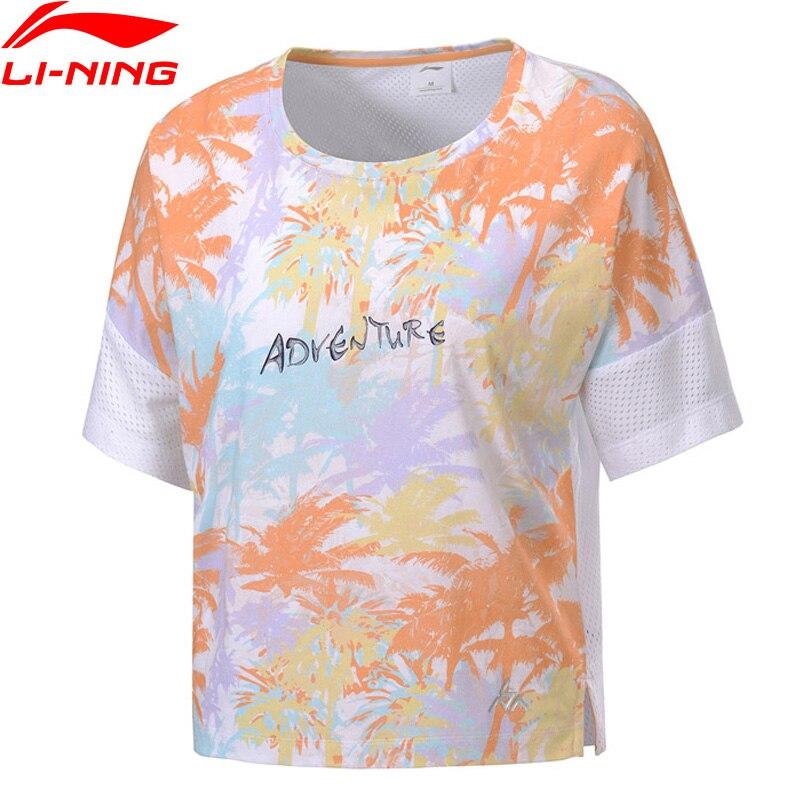 Li-Ning Women Outdoor Graphic Tee Loose Fit 66% Cotton 34% Polyester LiNing Li Ning Sport Oversize T-shirts Tops ATSP086 WTS1498