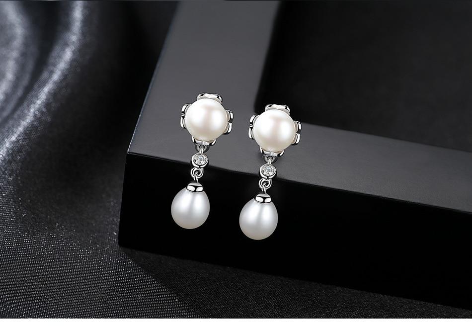 S925 boucles d'oreilles en argent Sterling Zircon perle boucles d'oreilles bijoux fins