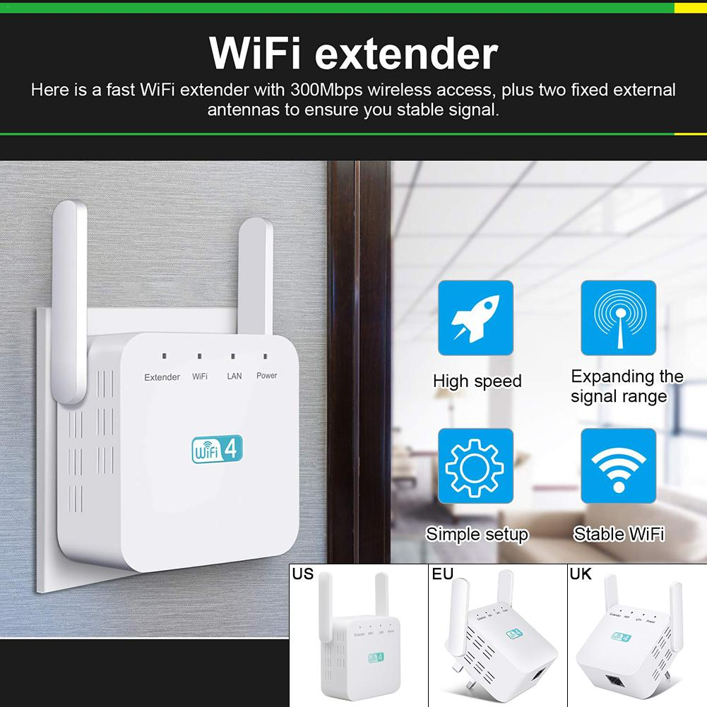 Wireless WIFI Repeater 300Mbps Internet Signal Booster Wall Mounted Amplifier Ultra Compact WIFI Extender For Most Routers
