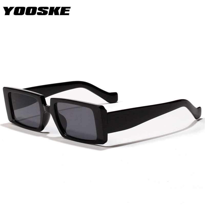 YOOSKE Trendy Black Sunglasses Women 2020 Brand Designer Rectangle Thick Frame Fashion Sun Glasses Shades For Ladies UV400
