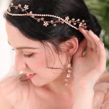 Elegant Rose Gold Crystal Rhinestones Marriage Party Banquet Feast Headdress Wedding