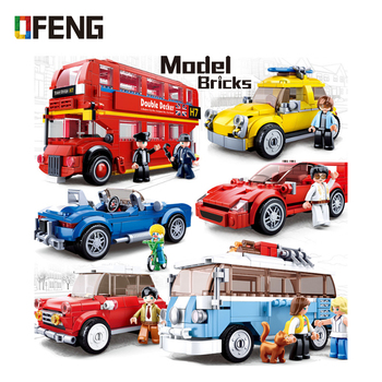 цена на Sluban City vehicle compatible  Speed Champions Racing Car London bus sets model Building Blocks Bricks Kids Toys kit