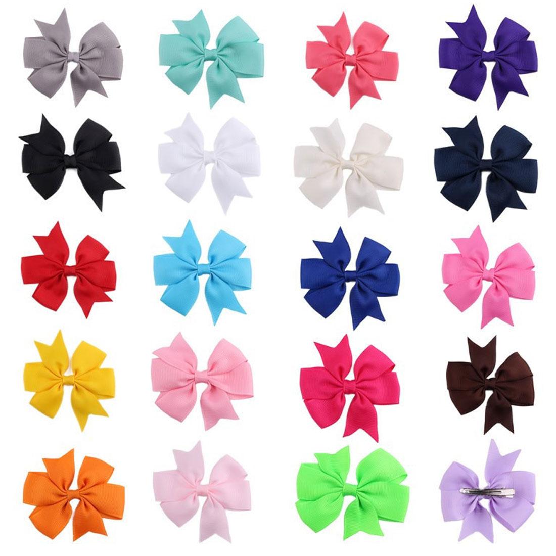 1PCS/Lot Colors Ribbon Bows Hair Bands Hairpin Girls hair bows Boutique Clip Headwear Kids Accessories