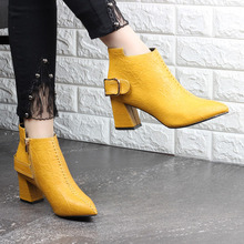 Shoes Women Boots High Heel Ankle Boots Flower Pointed Toe Stiletto Short Boots Zip Female Footwear  Yellow snow boots 2019 цена и фото