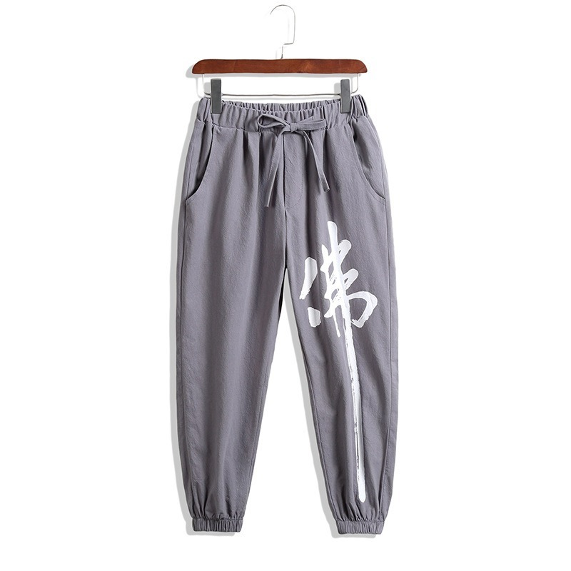 Chinese Buddha Character Print Ankle-Length Casual Pants Men Fashions Hip Hop Pants Men Joggers Streetwear Men Pants 2019 SA-8