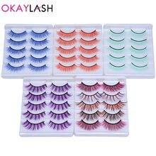 Okaylash 5 пар Радужный красочный 5d макияж норковые ресницы