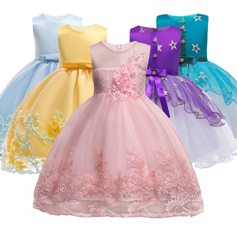 Bloem Meisjes Jurken Voor Nieuwe Jaar Kleding Party Baby Meisjes Mouwloze Grote Boog Prinses Trouwjurk Kinderen Party Vestidos