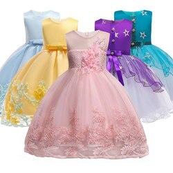 Blume Mädchen kleider für Neue Jahr kleidung Party Baby Mädchen Sleeveless Großen Bogen Prinzessin Hochzeit Kleid Kinder Party Vestidos