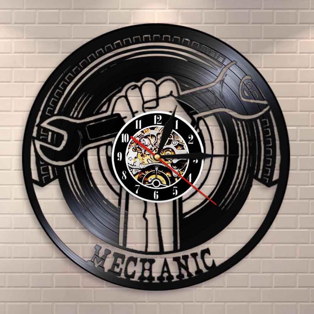 Garage Decorative Vinyl Record Wall Clock Modern Mechanic Tools Car Service Wall Decor Wrench Wall Clock Gift For Repairman