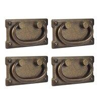 4Pcs Vintage Antike Bronze Schublade Ring Pull Griffe  Schrank Tür Möbel Griff Dekoration Schrankknöpfe Heimwerkerbedarf -