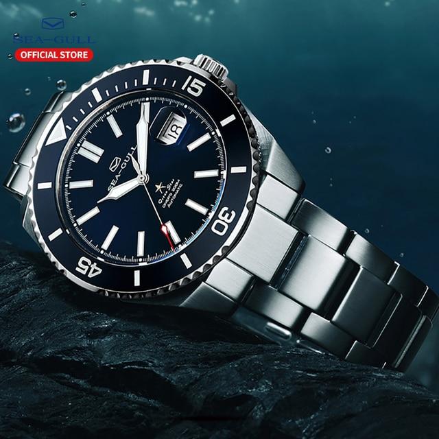 Seagull relógios mecânicos automáticos masculino fashions relógio de negócios safira sintética cristal 200m à prova de água relógio 816.523 2