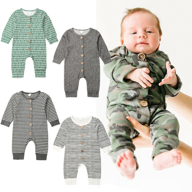 0-18months Newborn Baby Boys Clothes 2019 Autumn Baby Boys Rompers Solid Long Sleeve Button Camouflage Baby Boys Jumpsuits Suits