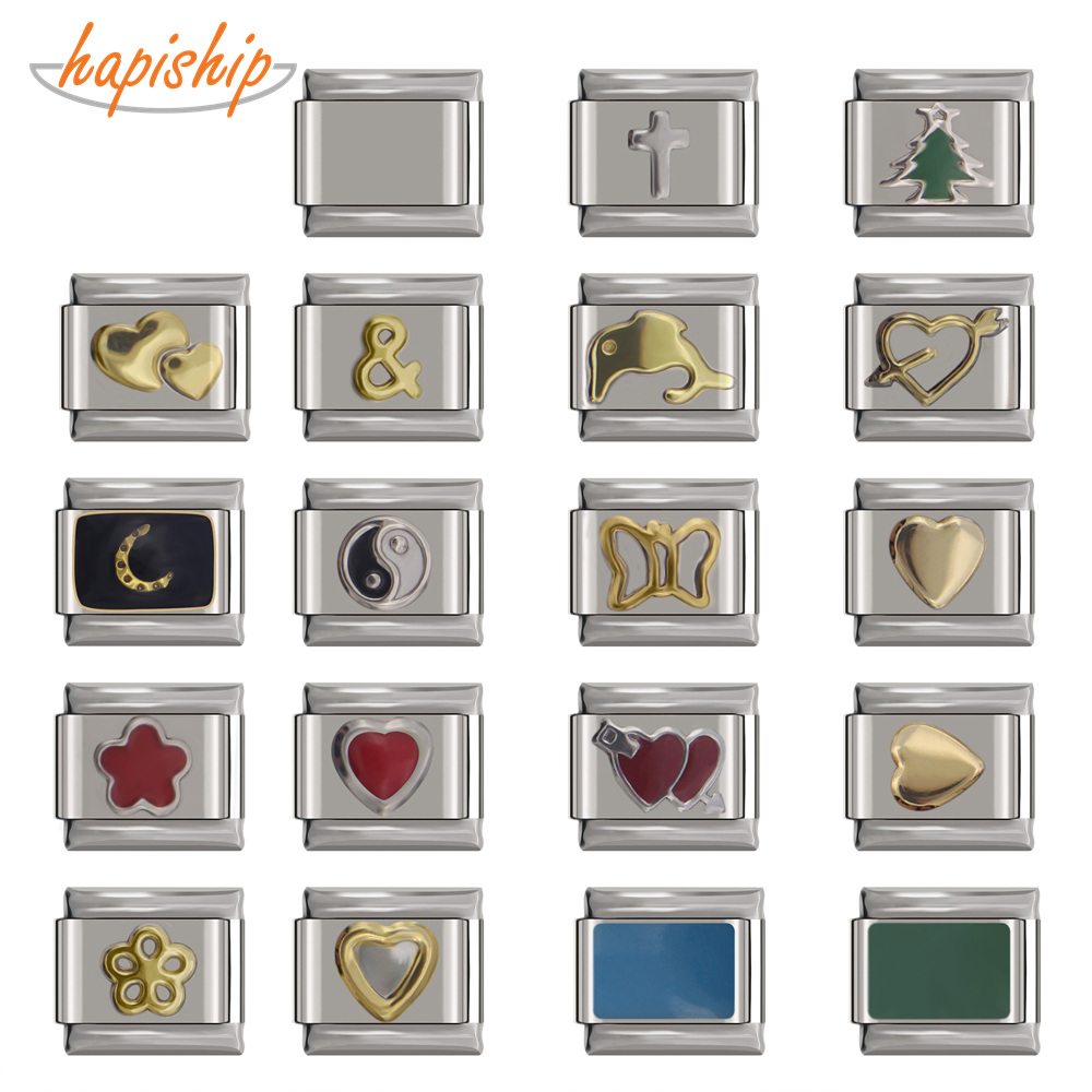 Hapiship Italian Charm Bracelet Jewelry-Making Daisy Heart-Flower Stainless-Steel Butterfly
