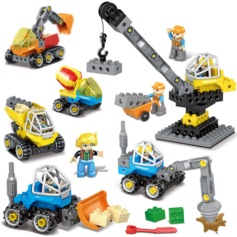 New DIY Large Particles Engineering Excavator Crane Building Blocks Compatible Legoes Duploe City Construction Vehicles Toys