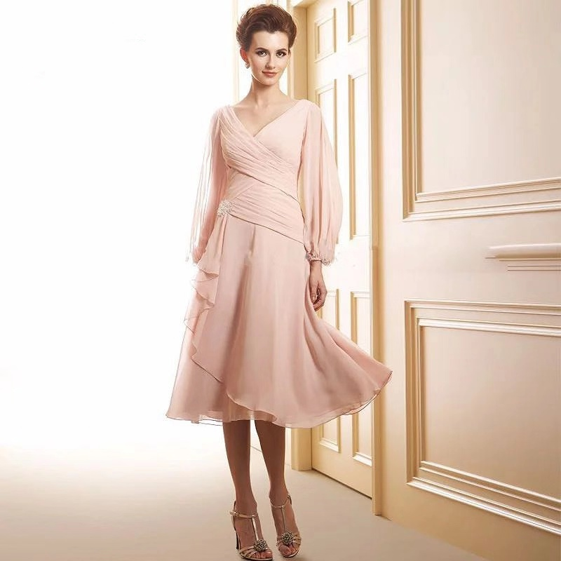 Long Sleeves Mother Of The Bride Groom Dresses 2020 New V Neck Knee Length Chiffon A Line For Wedding Party Gowns Vestido Festa