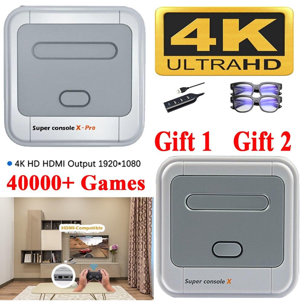 סופר קונסולת X Pro 4K HD רטרו משחק קונסולת עבור PSP/PS1/DC/N64, וידאו קונסולת משחקים עם 50000 + משחקים, KODI, תמיכה 4/2 נגני 4