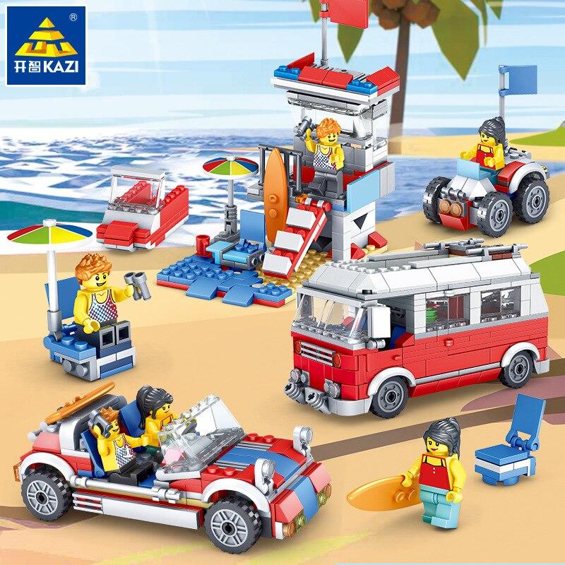 Original KAZI cidade nova 3 em feitiço 1 camping car crianças pequenas partículas blocos inseridos brinquedos para crianças presente de aniversário