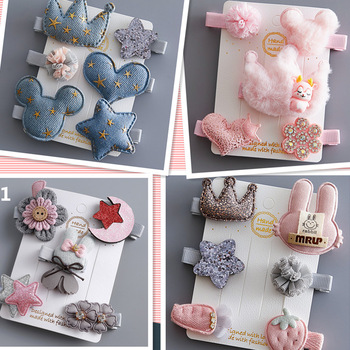 5/6Pcs/Set Hair Clip Set Baby Bow Hairpins for Girls Hair Accessories Girls  Barrettes Flower Cartoon Hair Clips for Girls 1