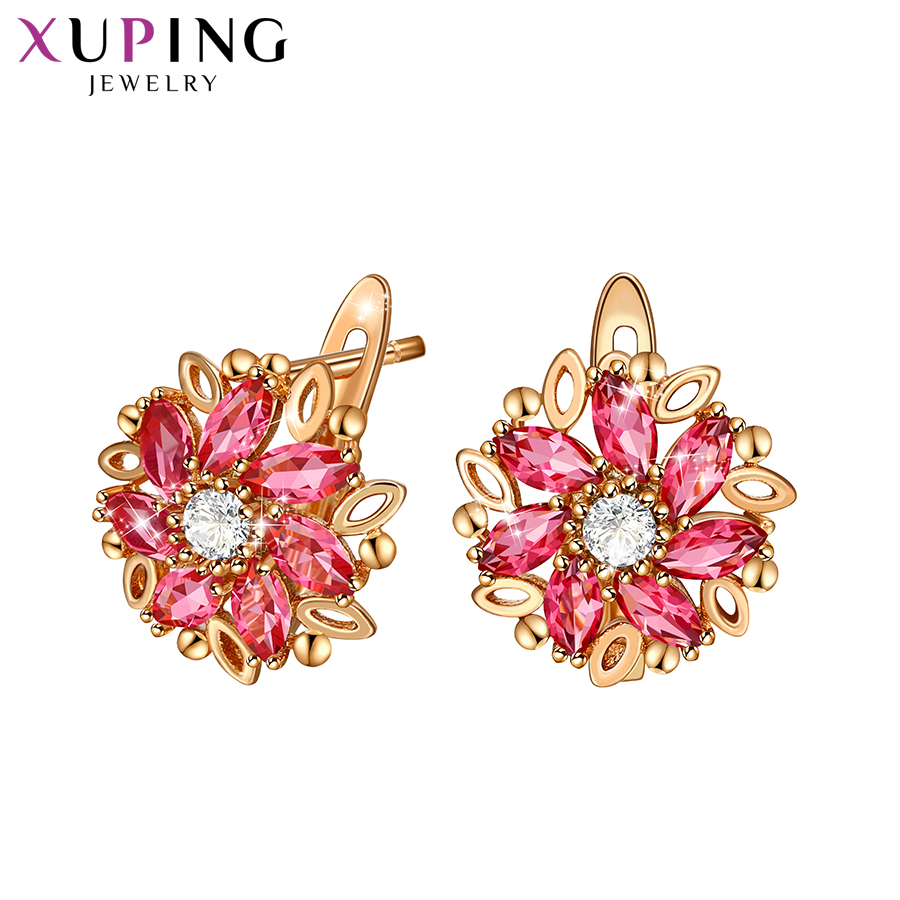 Xuping Fashion Colorful Flower Shaped Synthesis Cubic Zirconia European Style Hoops Earrings For Women Jewelry S196,2-98251