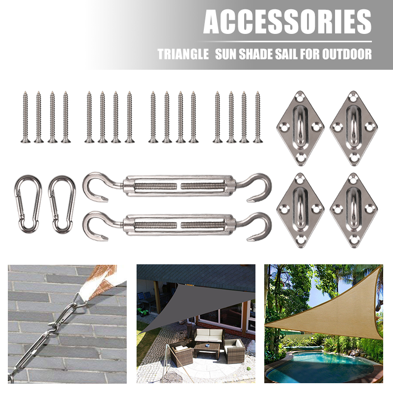 Sun Sail Accessories Hardware KitFixing Sail Canopy Fixings Stainless Steel for Rectangle and Square Sun Shade Sail