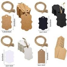 5*3cm 100pcs Packaging Label Brown Kraft /black/white Paper Tags DIY scallop Label Wedding Gift Decorating Tag