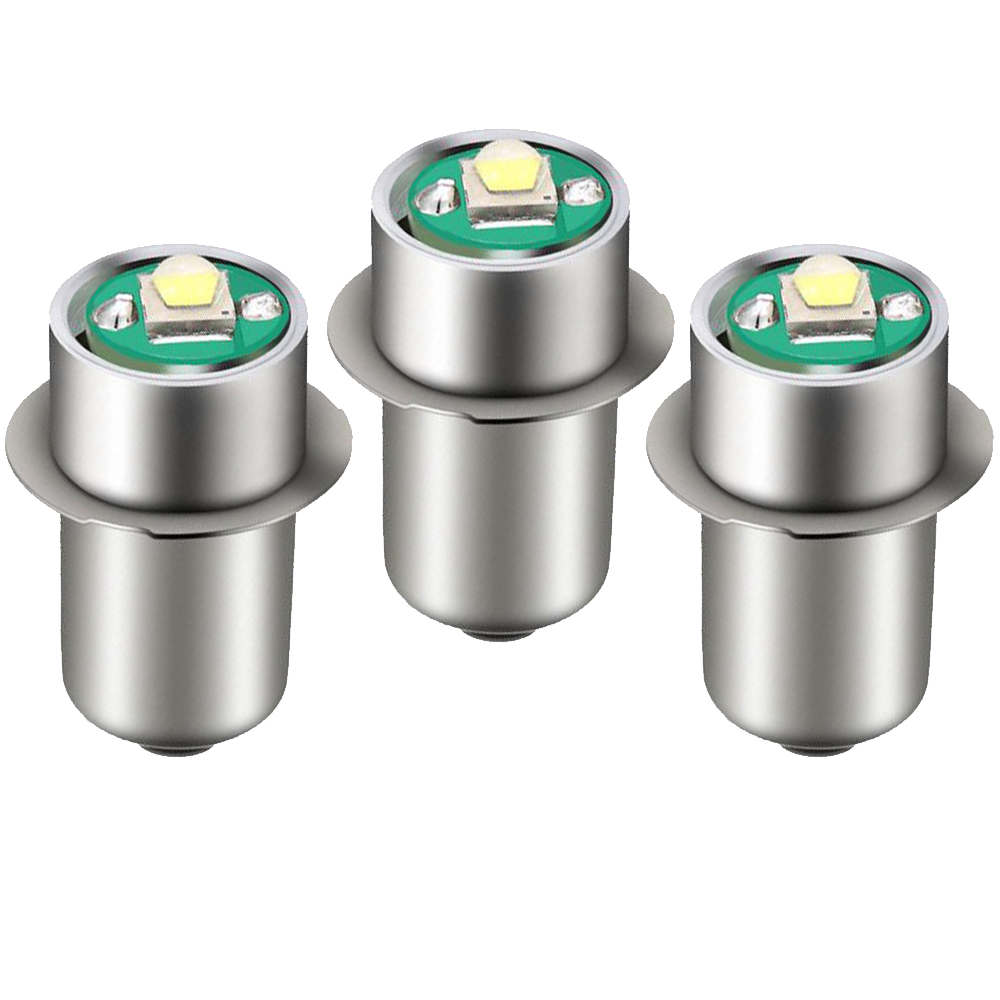 3Pcs <font><b>P13.5s</b></font> Pr2 pr3 <font><b>3W</b></font> Fit For Maglite LED Bulb Upgrade Conversion for 6d or 6c Cell Torch 5V-24V 3V-18V 4.5V <font><b>6V</b></font> 12V 15V White image