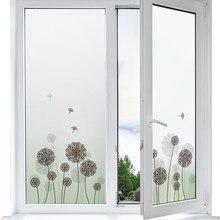 Janela de vidro fosco filme dandelion padrão etiqueta da janela para proteção de privacidade quarto casa decorativa filme adesivo