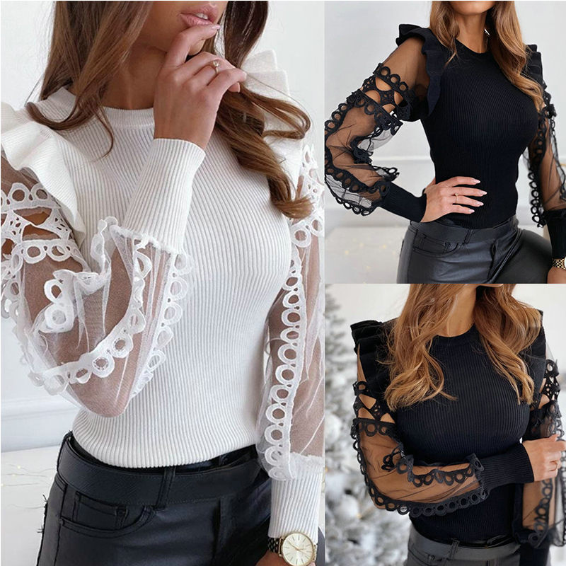 Sexy Round Neck Solid Color Hollow Out Ruffled Mesh Sleeve See Through Long Sleeve Women Blouse Sexy Tops And Shirt
