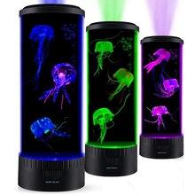 Boaz lámpara con depósito de medusas para niños, cambio de Color para acuario con luz nocturna, lámpara remota de ola de mar