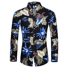 Flower Shirt Slim Male Large-Size Men's Long-Sleeved Casual Fashion New 6XL7XL